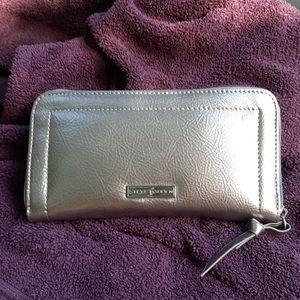 Steve Madden Silver Metallic zipper Wallet